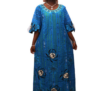 Swiss Dry Lace and Pattern Ankara with Embroidery