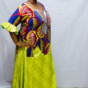 Ankara Long Dress with Getzner/Embroidery Neck/Crystal Stones
