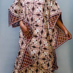 Ankara Boubou Dress with Embroidered Neck