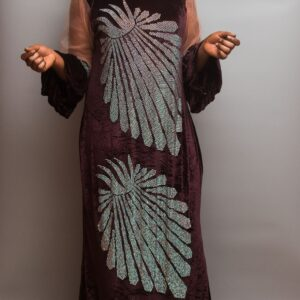 Velvet Long Dress with Net with Crystal Stones