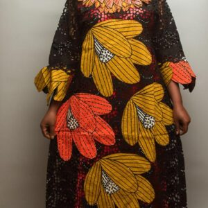 Swiss Dry Lace and Ankara Pattern with Embellished Crystal Stones