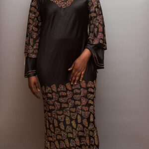 Silk Long Dress with Full Stones