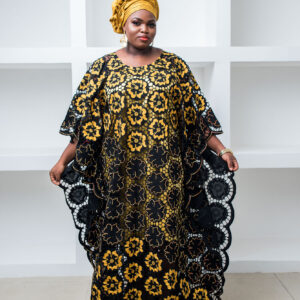Swiss Dry Lace Boubou with Gold Embroidery